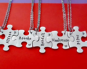 Puzzle Piece Necklace, Hand Stamped BFF Jewelry, Bridal Party Gifts, Personalized Bridesmaids Gifts, Best Friends, Family Puzzle necklace