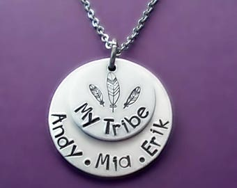 Personalized Hand Stamped My Tribe Mother's Day Necklace, Mommy Necklace, Kids Name Necklace, Personalized Jewelry for Mom, Stainless Steel