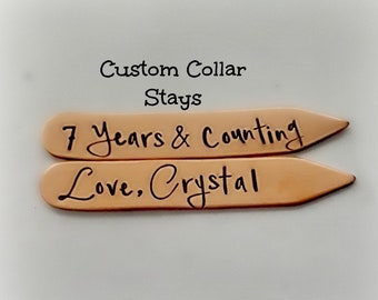 7 Year Anniversary Copper Gift for Him, Hand Stamped Collar Stays, 7th Year Copper Anniversary Gift, Personalized for Him, Gift for Husband