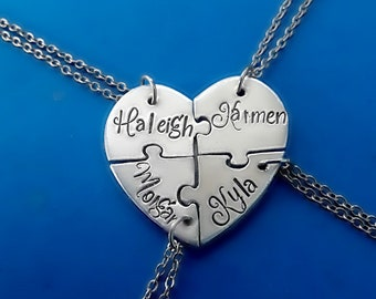 4 Personalized Heart Puzzle Necklace Set, Four Piece Heart Puzzle Piece Name Necklaces, Hand Stamped BFF Friend Jewelry,Bridesmaid Jewelry