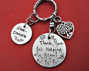 Thank You For Helping Me Grow Personalized Keychain, Gift for mentor, Teacher, Nanny Gift, Preschool Teacher, Babysitter Gift, Key Chain