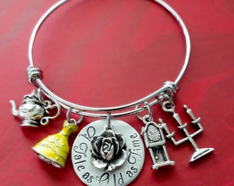 e80d84b77 Hand Stamped Beauty & the Beast Charm Bracelet, Disney Princess Jewelry,  Yellow Belle Dress, Fairy Tale Jewelry, A Tale as Old as Time