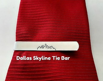 Texas Engraved Groomsmen Gift Austin Austin Texas Skyline Tie Bar Hand stamped Tie Clip Anniversary Husband Personalized for Him