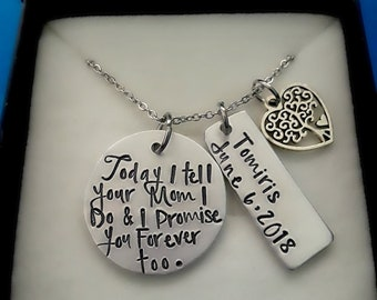 Today I tell your Mom I do and Promise you Forever too Hand Stamped Necklace, Step-Daughter Gift for Wedding Day, Personalized Jewelry