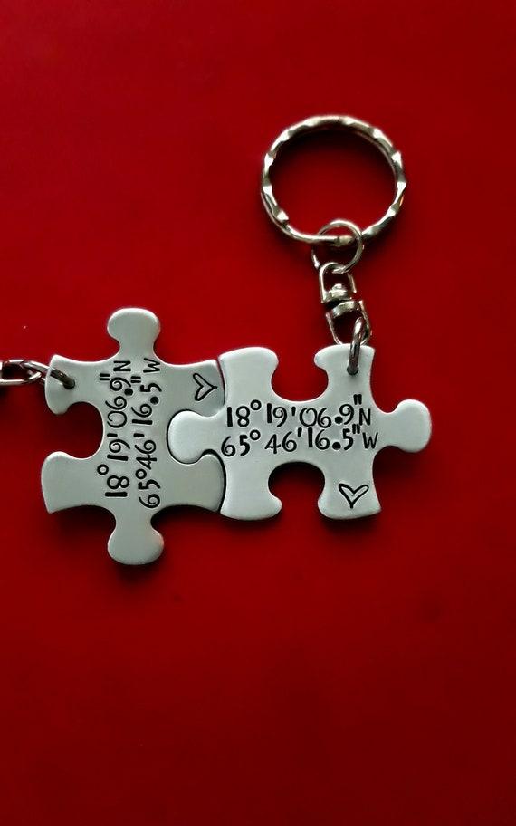 Long Distance Keychain Puzzle Piece Keychain Set Longitude Latitude Puzzle Piece Keychains Personalized Keychain Couples Keychain Set