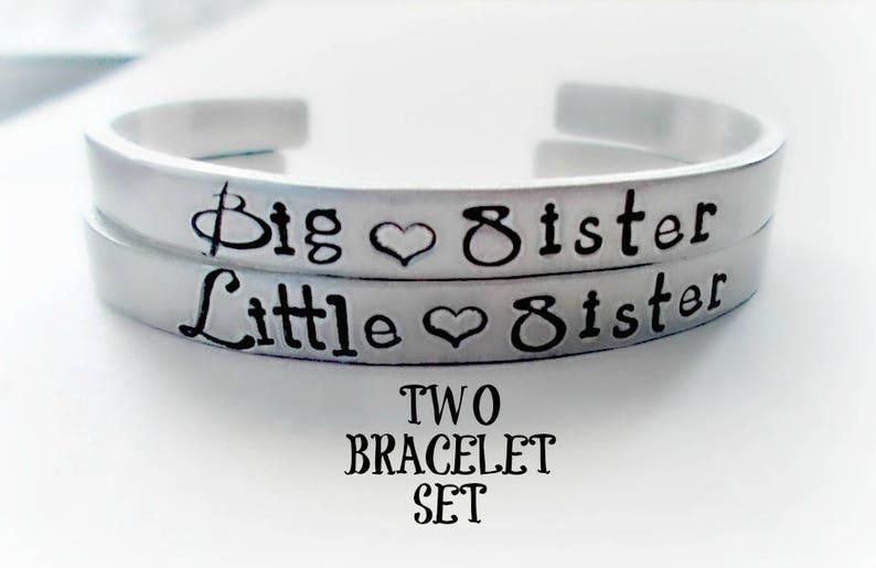 d47b0ff0182 Big Sister Little Sister Cuff Bracelets Matching Set of Two | Etsy