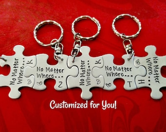 Personalized Puzzle Piece Necklaces or Keychains, Bridesmaid Gifts, Best Friend Keychain Set, Family Key Chains, Hand Stamped, Bridal Party