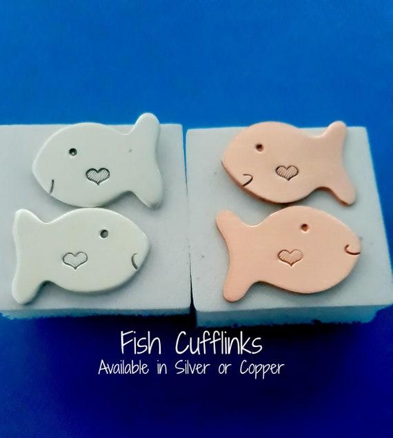Groomsmen gift Fish cufflink Groom cufflinks Groomsmen Cufflinks Fish gift for her Cufflinks Father Gift Fish Cufflinks
