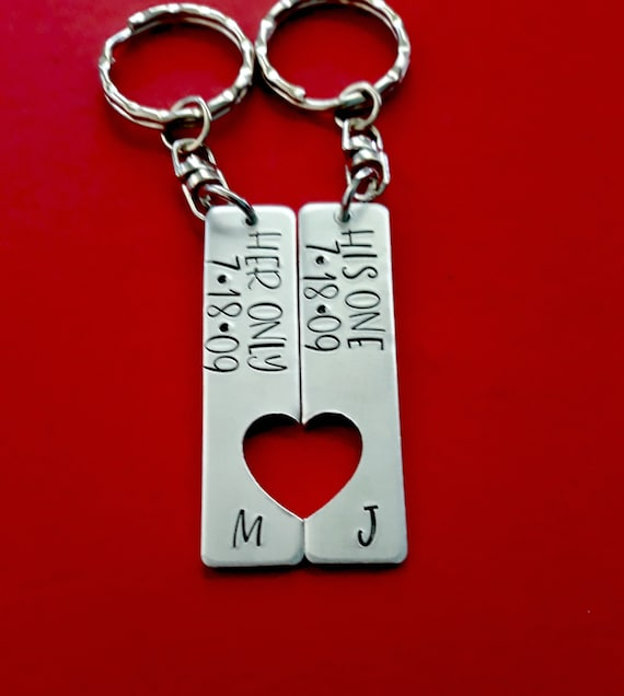 Her one His only Couple Key Chain Hand Stamped Broken heart Keychain Set