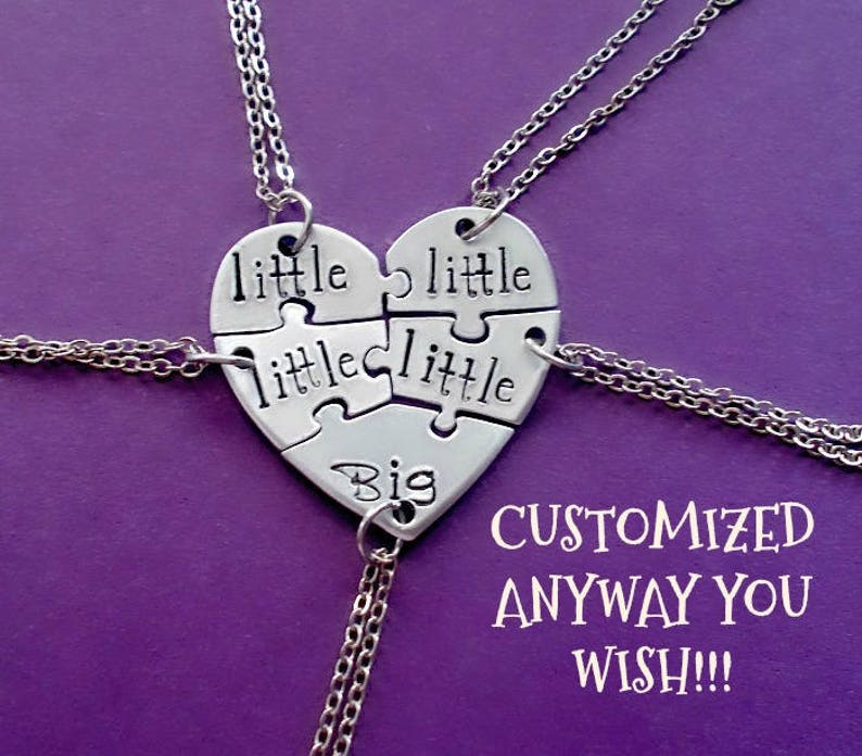 fbb5a81b4aeeb Five Heart puzzle piece necklace, 5 piece puzzle set, 5 Best Friends puzzle  necklace set, Hand Stamped Names Necklace, Bridesmaid Jewelry
