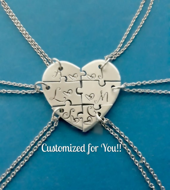 5342efd4c823c Six Heart puzzle piece necklace, 6 piece puzzle set, 6 Best Friends puzzle  necklace set, Hand Stamped Names Necklace, Bridesmaid Jewelry