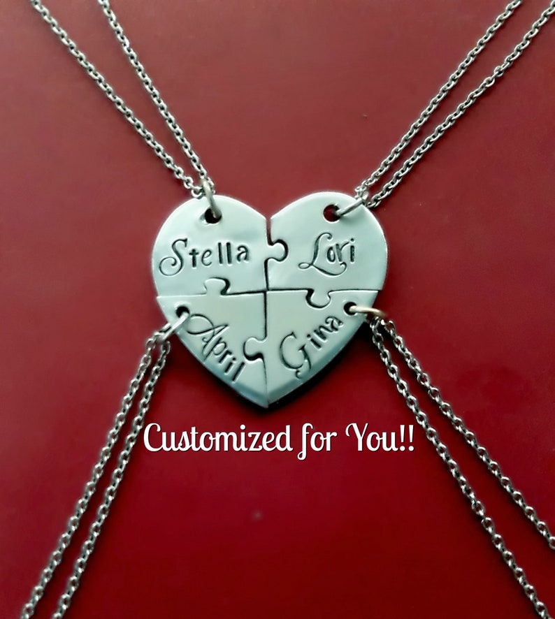 a6046eeeb03e8 4 Personalized Heart Puzzle Necklace Set, Four Piece Heart Puzzle Piece  Name Necklaces, Hand Stamped BFF Friend Jewelry,Bridesmaid Jewelry