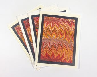 Hand Marbled Set of Four Blank Cards, Original Art Cards
