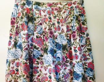 Cotton High Waisted Floral Skorts