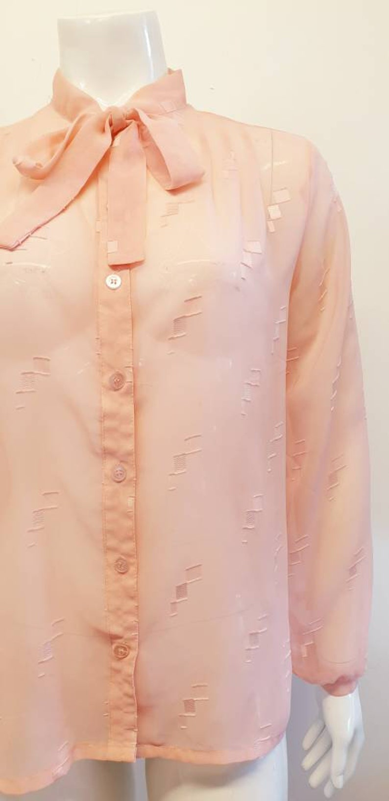 Sheer Baby Pink Size 10 Vintage Sussans Blouse