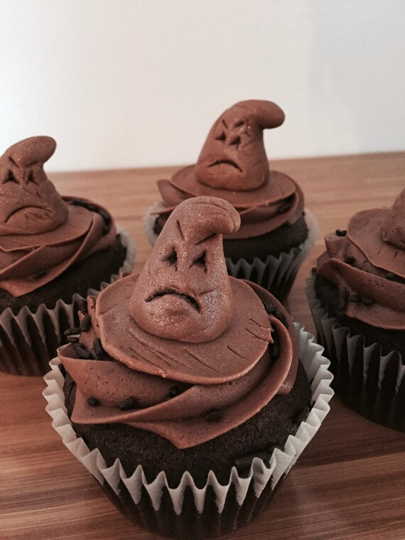 Harry Potter Sorting Hat Cupcake Toppers Set Of 12 Etsy