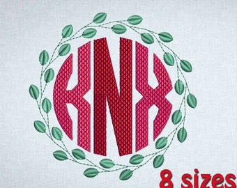 Wreath Embroidery Monogram Machine Design, Leaf Frame,  8 sizes (Font NOT included) INSTANT DOWNLOAD 302