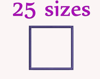 Square Applique Machine  Embroidery Design, 25 Sizes, Basic Shape DIGITAL INSTANT DOWNLOAD 047