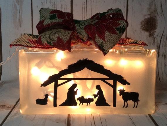 image 0 - Nativity Light Block Christmas Lights Lighted 8x4 Glass Etsy