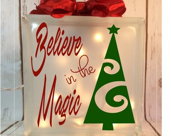 Believe in the Magic etched lighted 6x6 glass block, Christmas tree, holiday, nightlight, nativity, santa, glass box, lights
