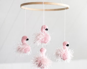 """BABY MOBILE """" The dancing flamingos """" - nature and minimalist nursery theme - crochet - baby girl - knit baby mobile - baby shower gift"""