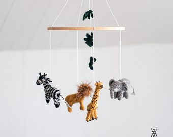 "BABY MOBILE "" My first safari "" - safari theme neutral nursery - crochet animals - knit baby mobile - wool - baby crib mobile - jungle"
