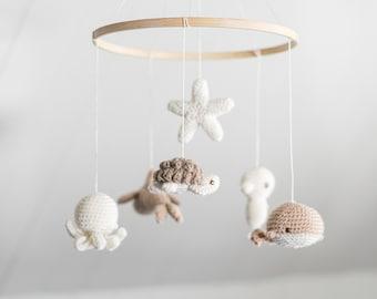 "Baby mobile "" Sleeping under the sea "" - neutral beige - ocean theme nursery - crochet - baby shower gift - knit baby mobile - wool - crib"