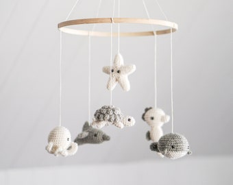 """Baby mobile """" Sleeping under the sea """" - neutral - ocean theme nursery - crochet - baby shower gift - knit baby mobile - wool - crib"""