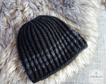 Warm crocheted hat for mens