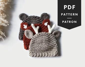 CROCHET baby hat PATTERN | Woodland hats crochet pattern | baby and kids sizes | deer crochet hat | fox crochet hat | bear crochet hat | 080