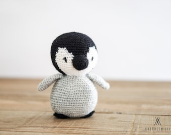 Crocheted Penguin softie - stuffed animal - knit - made with real wool - nordic amigurumi - toy - plush - baby shower gift idea