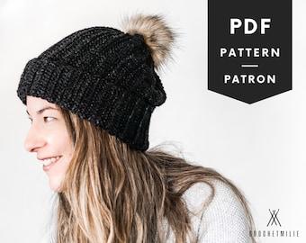 CROCHET hat PATTERN | Looks like knit Crocheted hat | Pdf crochet pattern | hat for men women kids | crochet slouchy beanie | pompom hat