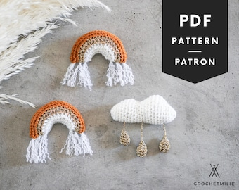 Crochet rainbow and cloud Pattern | PDF & video tutorial crochet pattern | modern crochet baby cloud mobile | boho crochet | amigurumi | 078