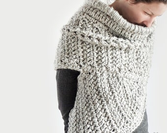 Crochet Asymmetric cowl - spring autumn style - winter sweater - shawl - for women - huntress - archer shrug - one shoulder cowl - knit