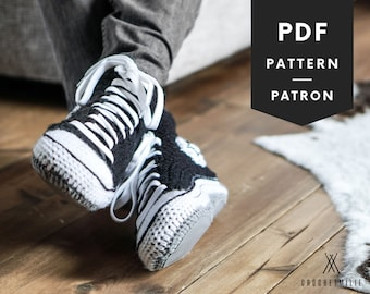 CROCHET slippers PATTERN | Cool crochet slippers PDF | converse shoes style | converse slippers | modern crochet pattern for men & women 001