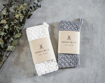 "2 COTTON WASHCLOTHS - 7"" X 7"" - Natural washcloth - Crocheted washcloth - bathroom cloth -for dishes - skin care - hostess gift"