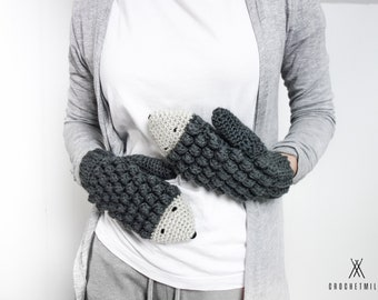Crochet Hedgehog mittens for women - cute gift idea for her - wool mittens for spring - fall - animal mittens - knit mittens - knitted