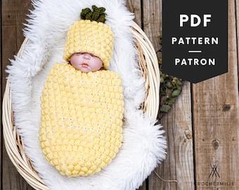 CROCHET Pineapple baby cocoon PATTERN | PDF crochet pattern | newborn photo prop | fruit hat pattern | baby kit | fruit baby pattern | 079