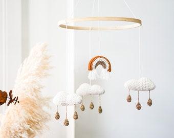 "Cloud Baby mobile | "" Treasure in the rain"" | Boho nursery decor | gender neutral minimalist | crochet mobile | knitted crib baby mobile"
