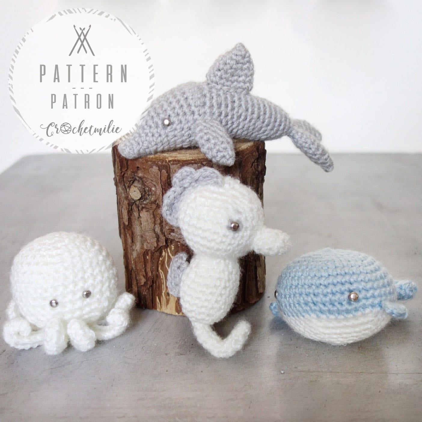 CROCHET PATTERN 005Package of 4 Crochet Sea animals | Etsy