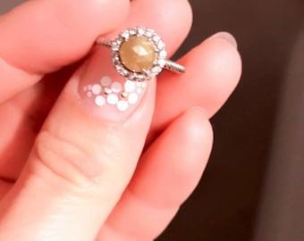 Rough Diamond Ring in 14k White Gold