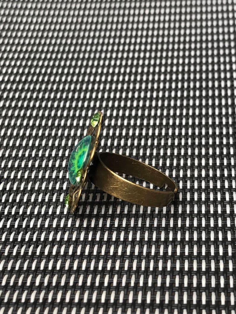 Green mosaic glass tile crystal antique gold adjustable ring