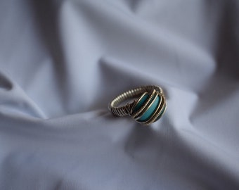 Turquoise Sterling Silver Wire Wrap Ring