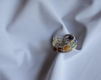 Chakra Stone Wire Wrap Cuff Ring