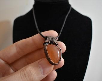 Carnelian Copper Wire Wrap Pendant Necklace