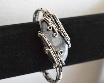 Picasso Jasper Wire Wrapped Cuff Bracelet