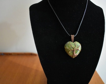 Unakite Heart Wire Wrapped Copper Tree of Life Pendant Necklace