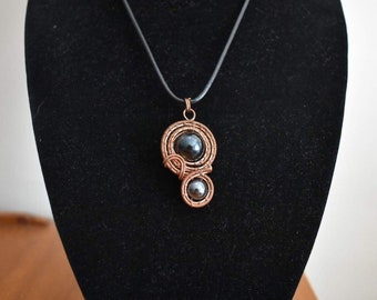 Copper Wire Wrapped Spiral Bead Pendant