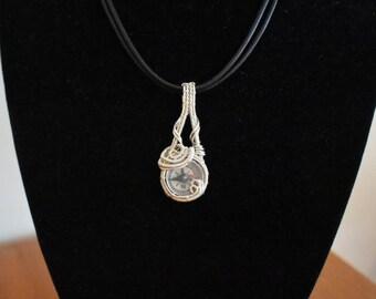 Compass Pendant Wire Wrap Necklace