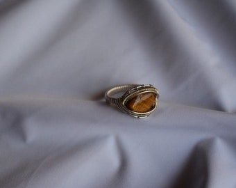 Tigers Eye Sterling Silver Wire Wrap Ring
